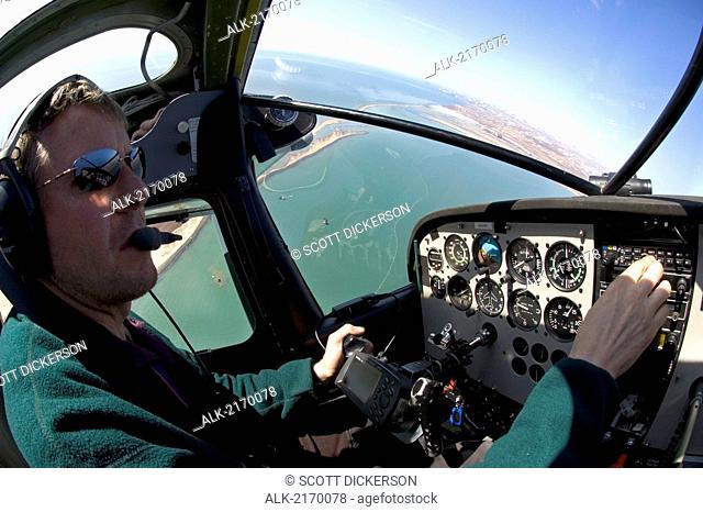 Aerial Spotter Radioing Herring Fleet Bristol Bay Ak Sw Spring Hagemeister Strait