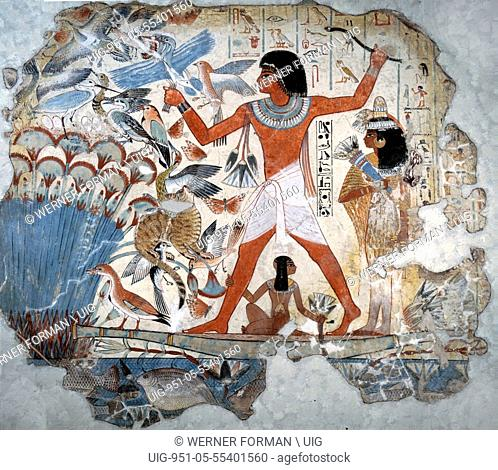A painting from the tomb of Nebamun showing him standing on a reed boat hunting birds in the papyrus marshes using throwsticks and three decoy herons