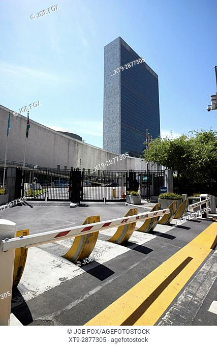 security barriers and vehicle access to the United Nations building New York City USA