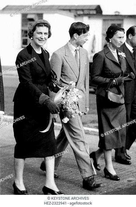 The Duchess of Kent with the her son, the Duke, and Princess Olga, London Airport, 1952. Prince Edward became Duke of Kent when his father, Prince George