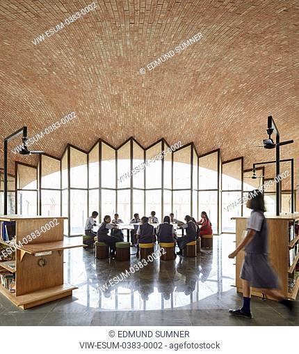 Interior view with Kids studying. Maya Somaiya Library, Kopargaon/Maharashtra, India. Architect: Sameep Padora and associates (SP+A), 2018