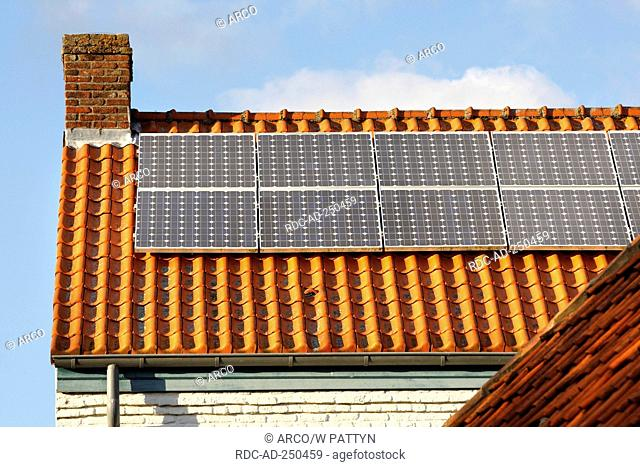 Solar panels on roof of house Belgium one family house single-family house