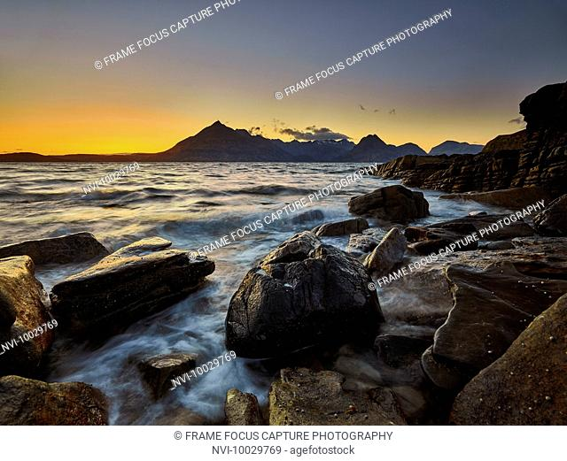 Sunset at Elgol Beach with the Cuillins Mountain Range, Isle of Skye, Scotland