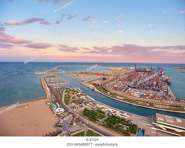 View from the air to the seaport of Valencia during sunset. Spain