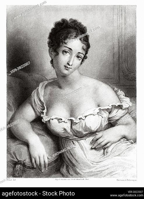 Portrait of Madame Récamier. Jeanne Francoise Julie Adélaide Récamier (1777-1849) known as Juliette, was a French socialite