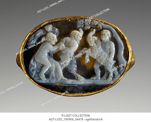 Pan Battling a Goat; Attributed to Sostratos or Workshop (Greek ?, about 25 - 1 B.C.); 25 - 1 B.C; Cameo: sardonyx; ring: gold; 2.3 × 1.6 × 0