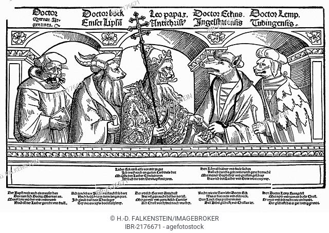 Historical illustration from the 19th Century, after a satiric pamphlet from the 16th Century, depicted are five opponents of the reformer Martin Luther...