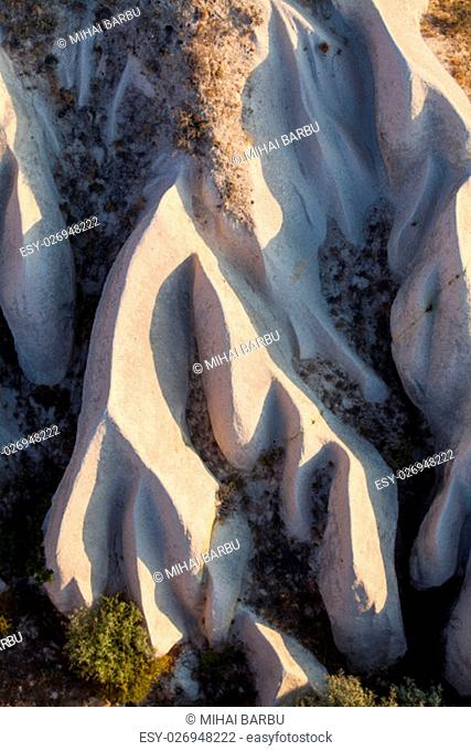 High angle view of the rocky ground in Cappadocia, Turkey