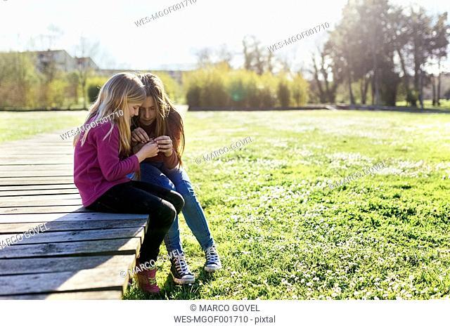 Two girls sitting on a boardwalk in spring