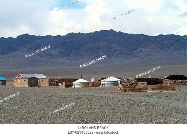 Jurten und Zeltsiedlung in der Wüste Gobi Mongolei