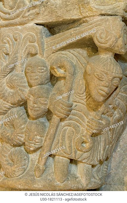 Detail of San Pedro collegiate, in Cervatos village, Campoo de Enmedio, considered as one of the most important romanesque churches of Cantabria and specially...