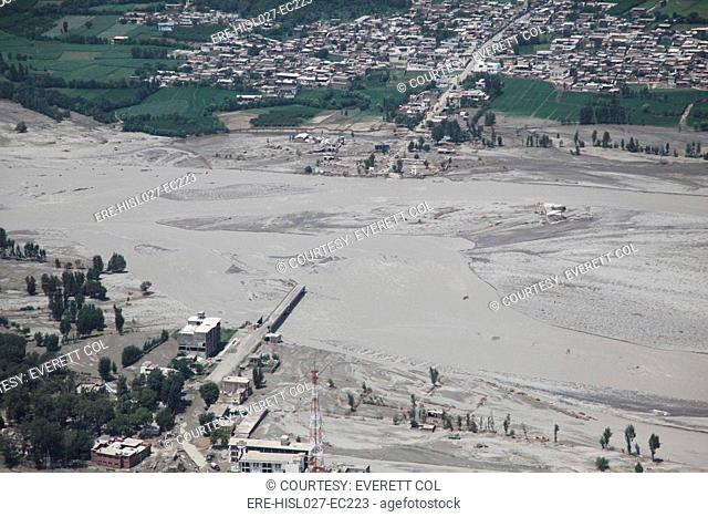 An aerial view of damage caused by unprecedented flooding in the Khyber Pakhtunkhwa province of Pakistan. Aug. 5 2010. BSLOC-2011-12-381