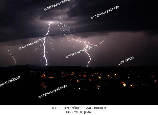 Thunderstorm over Murnau am Staffelsee, Bavaria, Germany