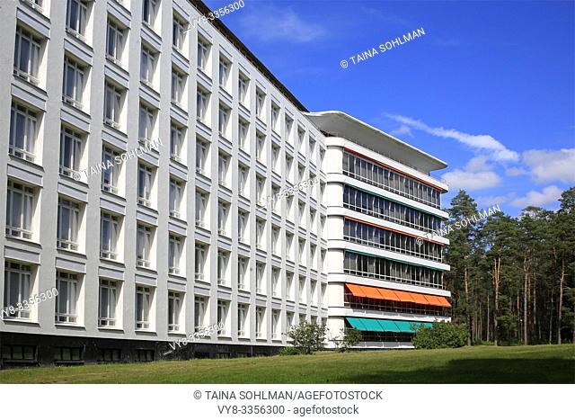 Paimio Sanatorium, designed by Finnish architect Alvar Aalto and completed 1933, on a sunny day of summer. Paimio, Finland. June 21, 2019