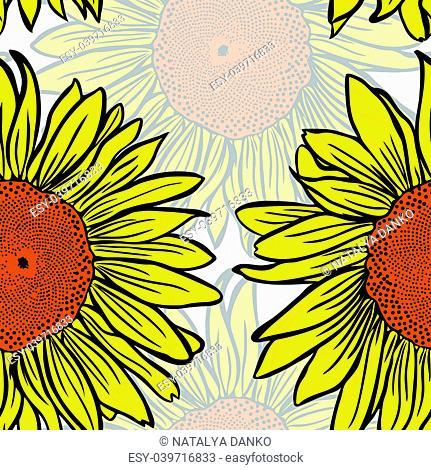 large yellow blossoming sunflowers, seamless pattern