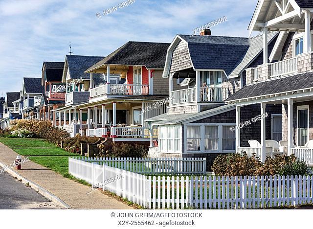 Charming cottage houses along Ocean Park, Oak Bluffs, Martha's Vineyard, USA