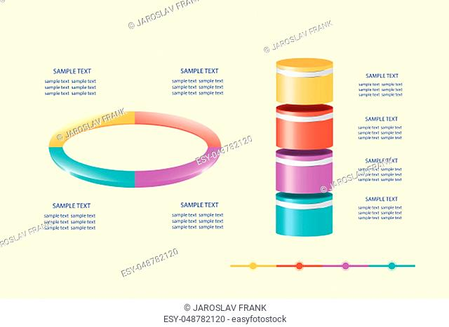 Infographic of ellipse ready to describe process in four steps and the vertical cylinders ready to show process development in timeline