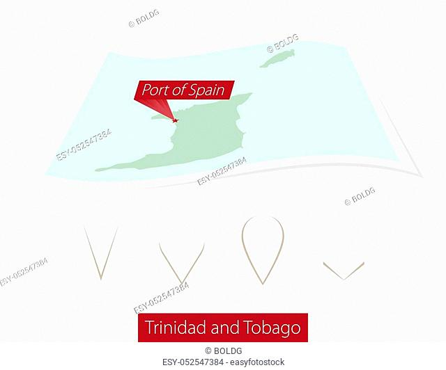 Curved paper map of Trinidad and Tobago with capital Port of Spain on Gray Background. Four different Map pin set. Vector Illustration