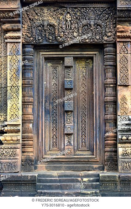 Carved door, Banteay Srei temple, Angkor, Cambodia, South East Asia, Asia