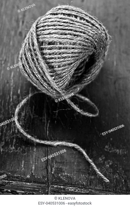 rolling ball of hemp rope-black and white image