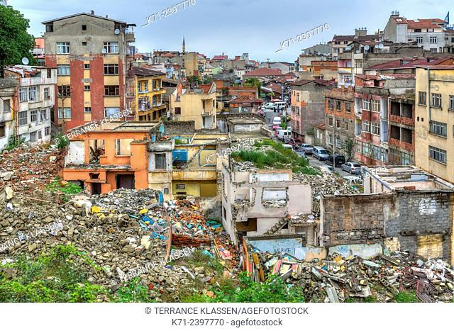 A demolition site in a housing development in the Black Sea port of Trabzon, Turkey
