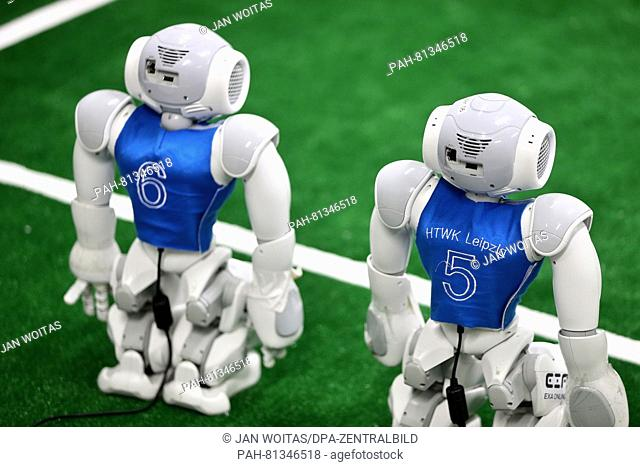 Nao-Robots on new turf at a lab of the University for Technology and Economy in Leipzig, Germany, 31 May 2016. The team participated in the World Robot Soccer...