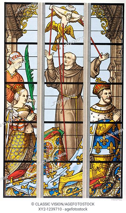 King Francois I of France 1494 - 1547, and his wife Eleonore praying  Detail of a 16th century stained glass window in Saint Gudule church