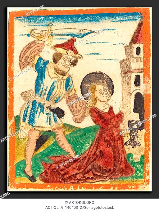 German 15th Century, The Martyrdom of Saint Barbara, c. 1480-1490, woodcut in lt. brown, hand-colored in red lake, green, blue, yellow, rose, gold, and orange