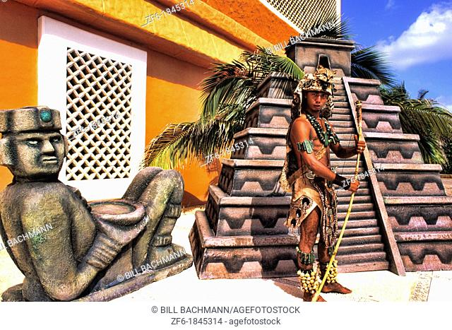 Mayan native in colorful costume in Cozumel Mexico