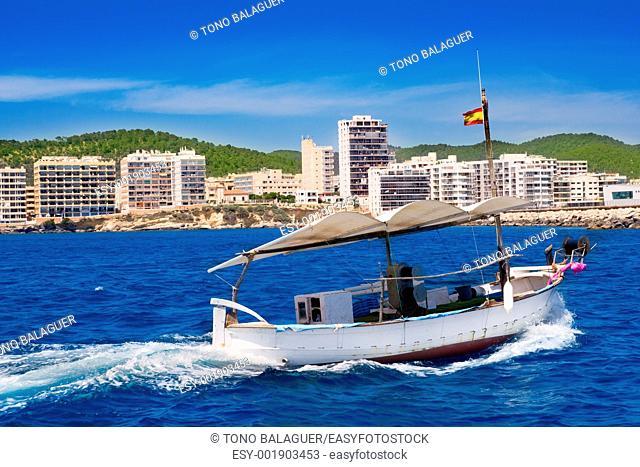 Ibiza boats in San Antonio de Portmany bay at Balearic islands
