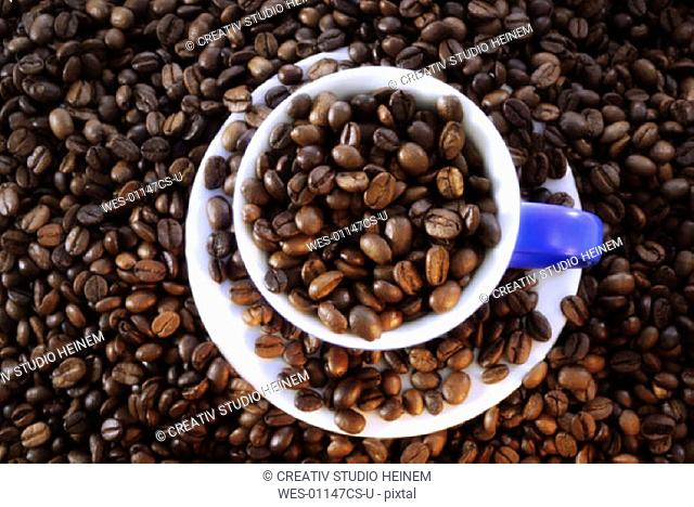 coffee beans in a teacup
