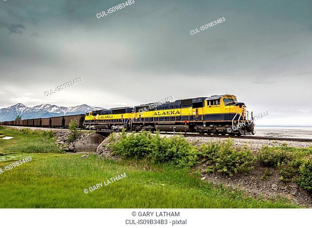 Freight train, Beluga Point Lookout, Seward Highway, Alaska, USA