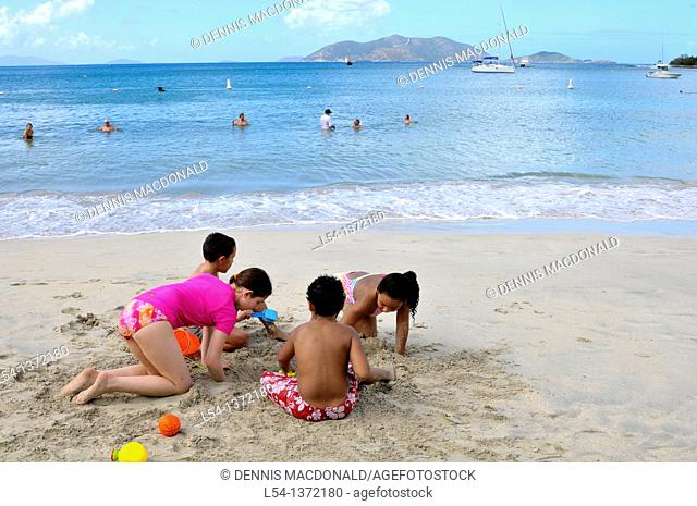 Cane Garden Bay Beach Tortola BVI Caribbean Playing in Sand