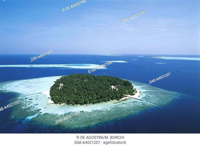 Aerial view of Biyadhoo Island, South Male Atoll, Maldives