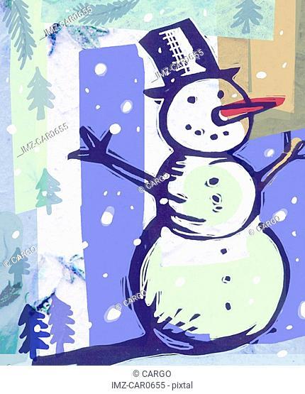 A layered print of a snowman