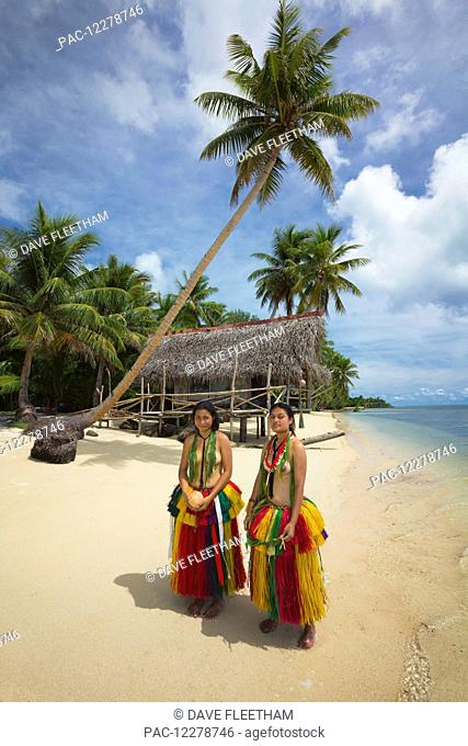 Young women in a traditional outfit for cultural ceremonies on the Island of Yap; Yap, Micronesia