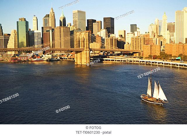 Sailboat and New York City skyline