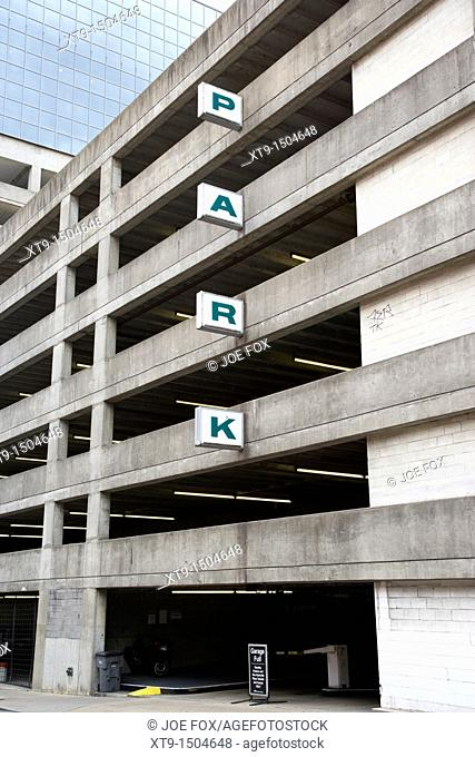grey multi storey car park in downtown Nashville Tennessee USA
