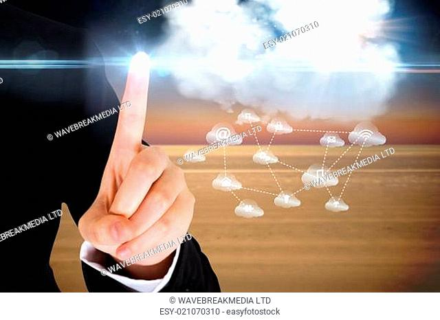 Finger pointing to cloud graphic with app icons