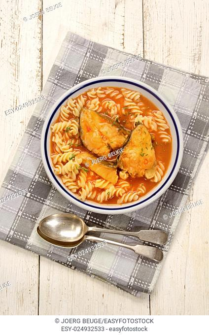 carp fish soup with noodle and thyme