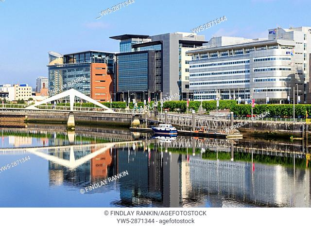 Broomielaw, Glasgow with the business, banking and commerce district viewing along the River Clyde toward the Tradeston Bridge known locally as the Squiggly...