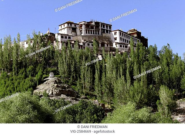 The Matho Gompa in Ladakh, India rests on a mountaintop above the Matho village and is believed to be more then 600 years old