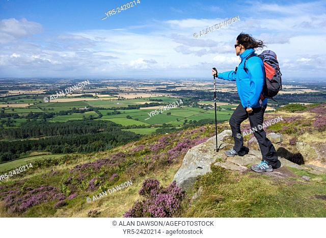 Female hiker near Captain Cook`s monument on Easby Moor, North York Moors, National Park, North Yorkshire, England, United Kingdom