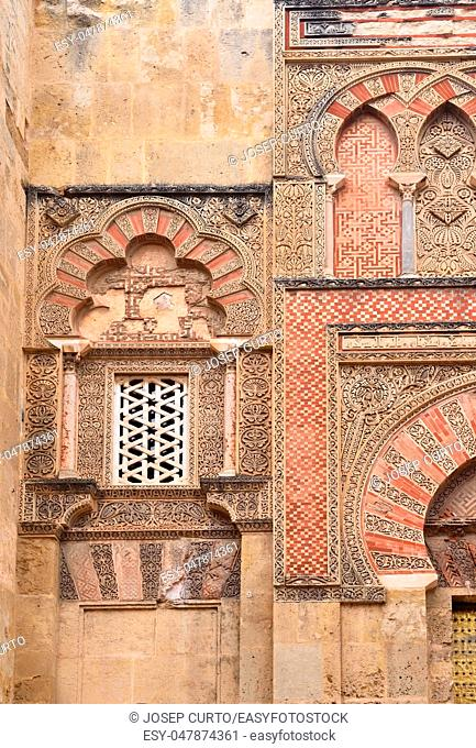 Door and facade of San Ildefonso, Moorish facade of the Great Mosque in Cordoba, Andalusia, Spain
