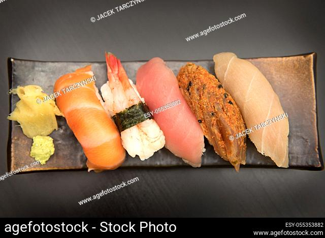 close up of sashimi sushi set