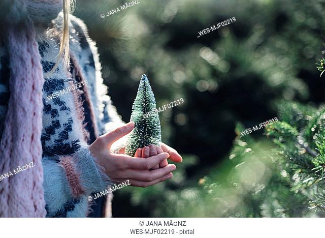 Little girl holding a toy Christmas tree, close up