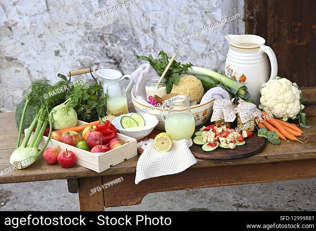 An arrangement of whey, vegetables, fruit and preserved cream cheese