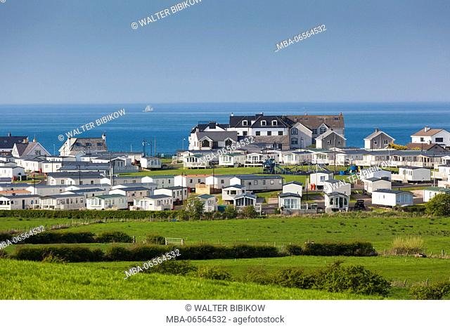 UK, Northern Ireland, County Antrim, Portballintrae, elevated town view