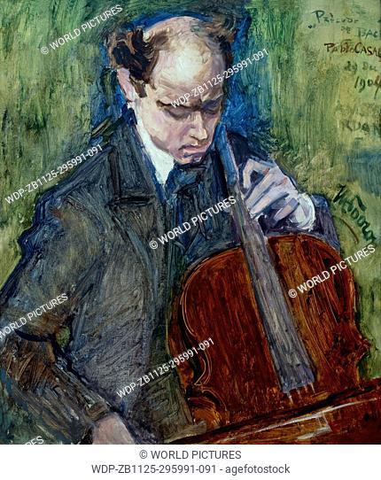 Pablo Casals Playing Cello, by Jan Toorop, 1904, Boijmans van Beuningen Museum, Rotterdam, Netherlands, Europe