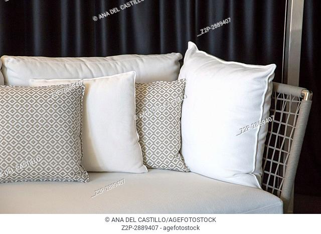 Sofa and cushions in white